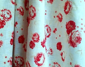Vintage Rare French Cotton Muslin Roses Pattern Roses Print Fabric Old Roses Print Red White Very Good Condition French Country Decor