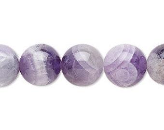 12mm Gemstone Bead Banded Amethyst Round 33 Beads