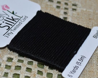 Purely Silk Black 1mm Twisted Cord Thread 3-ply 6 Yard Card