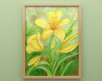 Yellow Lilly Print from Original Watercolor