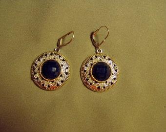 Vintage Sterling Silver Blue Rhinestone Drop Dangle Pierced Earrings 8815