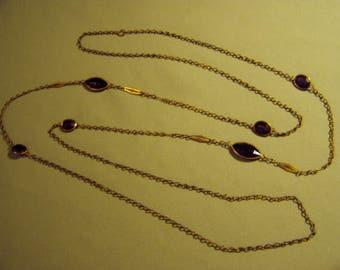 Antique Brass & Purple Faceted Glass Bezel Set Stones Necklace 9169