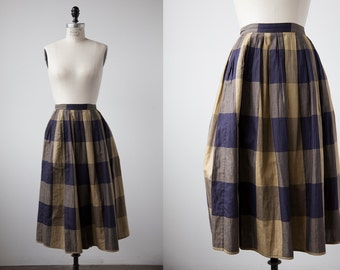 SALE 50% OFF Vintage Cotton Plaid Tan and Navy Pleated Midi Length Skirt XS