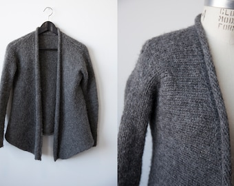 SALE 50% OFF Vtg Charcoal Grey Knitted Cardigan Fuzzy Angora Wool Draped Open Front Sweater S