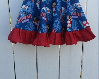 SALE - Size 5 Red and Blue Lilo and Stitch Girls Ruffled Twirl Skirt READY to SHIP