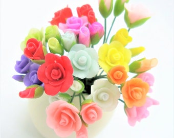 Miniature Rose,1 bud-1 half blossom-1 blossom, 12 colors-12 sets, total 36 stems