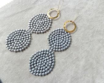 Grey dangle earrings, lace earrings, grey geometric earrings, long gold earrings