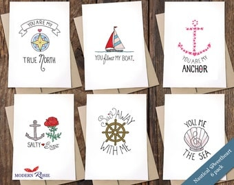 Nautical Sweetheart Card Pack - 6 folded greeting cards
