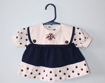 50% OFF SALE Vintage baby girls SAILOR dress . babies Navy Blue & White Polka dot Nautical dress . Baby Doll Dress . size 3 months