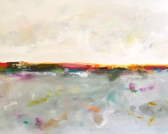Large Colorful Abstract Seascape - Horizon with Color Sea 60 x 36