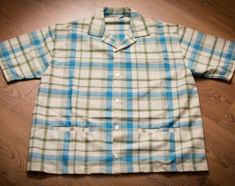 Robert Bruce Plaid Casual Shirt, Golf, Bowling, Western Rockabilly, Vintage 60s-70s