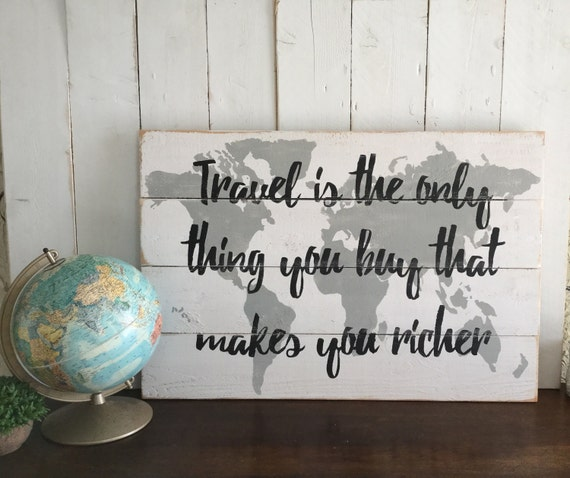 Rustic Wood World Map Travel Themed Decor Pallet Map