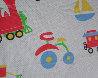 "Curtain panel handmade 51 x 57"" train sailboat fire engine tricycle wagon truck in red green blue yellow black cotton curtain for kids"