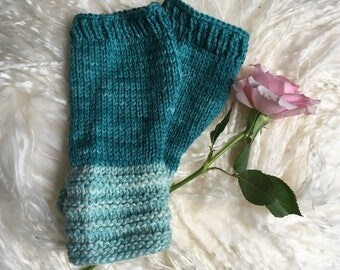 Fingerless Mittens.Two Tone Teal. Wool and Alpaca mix Hand Dyed yarn. Fall, Winter. Women's Fashion Accessory. Aqua, Teal, Turquoise Mitts