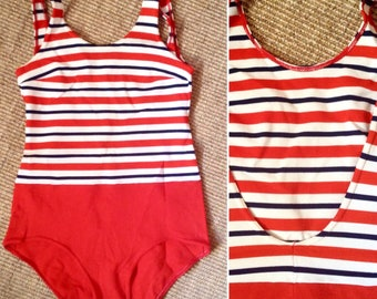 French VTG 1960s nouvelle vague navy red stripes SWIMSUIT bathsuit Sz S