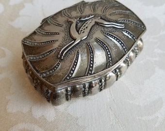 Vintage Silver Metal Jewelry Trinket Box With Gazelle Deer Stag, Mid Century Decor