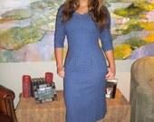 JAN SALE Vintage 50s 60s Wiggle Dress in Blue Wool With Pearls, Rhinestones
