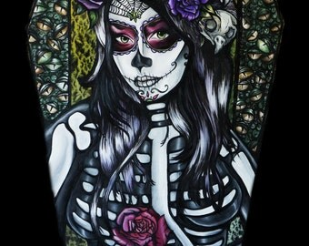 Flower of the Dead -  11x14 Giclee Stretched Canvas Print ( Day Of The Dead Woman in Tattoo Art Style With Coffin and Roses)