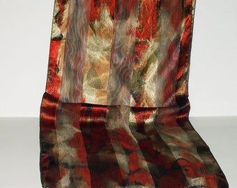 Vintage Scarf Long Rust Beige Print Retro Fashion Head Scarf Neck Purse Kerchief Scarf Accessory