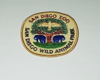 Vintage Souvenir Travel Patch Sew On San Diego Zoo San Diego Wild Animal Park sm