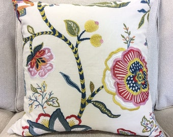 """Designer Pink, Blue, Green, Yellow and Cream Embroidered Floral Pillow Cover- 20"""" Finshed Cover"""