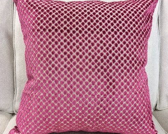 """Designer Pink Dot Cut Velvet Pillow Cover- Hot Pink Pillow Cover- Polka Dot Pillow Cover- 20"""" Finshed Cover"""