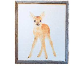 Reclaimed Wood Framed Canvas Print   Watercolor Fawn   Baby Deer   Handmade Gifts under 100