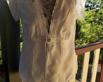 white linen boho blouse - romantic altered couture - vintage lace - large