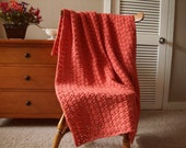 "Persimmon Orange Hand Crochet Afghan, Throw Blanket 54""x40"" Solid color, Adult couch sofa lap More colors @ CozyHomeCrochet"