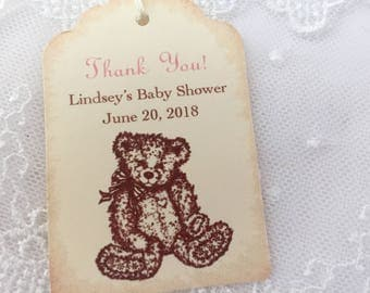 Girl Teddy Bear Baby Shower Birthday Tags Personalized Pink Set of 10