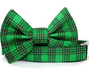 Emerald Green Plaid Bow Tie Dog Collar with Nickel Plate Hardware - Sullivan Plaid