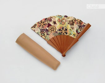 Gold and Burgundy - Kimono fabric folding fan - summer accessory women's gift for her - mother in law - maid of honor gift