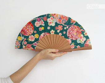 Temari - Kimono fabric folding fan - Teal pink and pastels - summer accessory women's gift for her