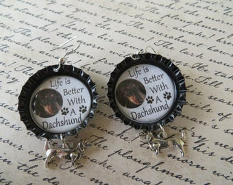 Dachshund Life Bottle Cap Earrings