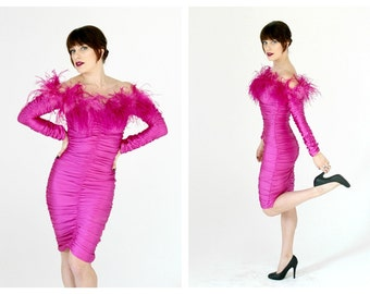 Neon Pink Feather Dress- Off Shoulder, 80s, Bodycon, Stretch, Burlesque, Pinup, Designer Vintage, Marabou, Ostrich Feather