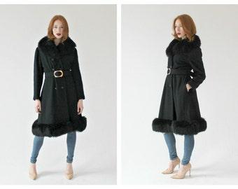 VTG. Black Plush Trim Winter Coat- M, Penny Lane Coat, Shearling, Jet Black, Hippie Boho Jacket