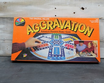 1987 Selchow & Righter Aggravation Board Game, The Original Deluxe Aggravation, Complete