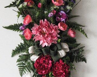 Spring Wreath – Tulips and Crocus  - Door Hanger - Front Door Wreath - Spring Wreaths for Front Door