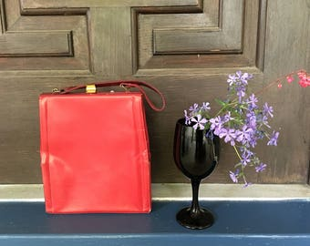 Vintage Red Handbag Authentic Retro Leather Purse bag Accessories