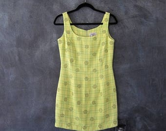 15% Off Out of Town Sale 90s Carmen Marc Valvo Mini Dress Chartreuse Embroidered Daisy PLaid Woven Bodycon Raver Dress Ladies Size S