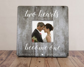 Two Hearts Become One Picture Frame, Wedding Picture Frame, Bride Groom Gift, Personalized Wedding Frame