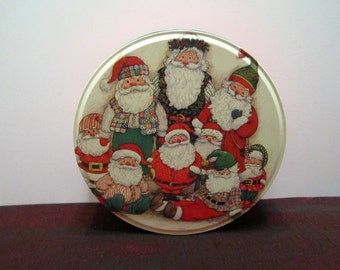 Vintage Christmas Tin with Santa Claus and Elves - Candy - Cookie Tin by Potpourri Press - 1994 - Signed by WIM