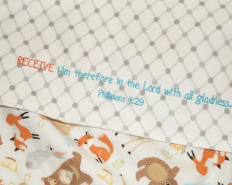 Flannel Baby Blanket, Woodland Animals, Embroidered  Philippians Bible Verse, Bible Verse Blanket, Scripture Blanket, Bear and Fox Blanket
