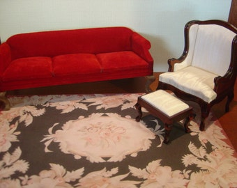 Dollhouse Aubusson Rug Black Red Ivory Pink 1:12 scale
