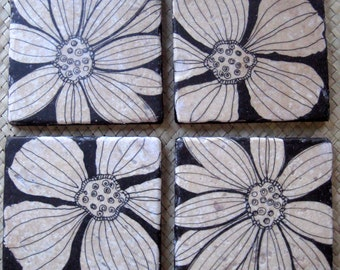 HANDMADE COASTERS black and white flower design- travertine tiles, set of 4, gift under 30, handmade gift