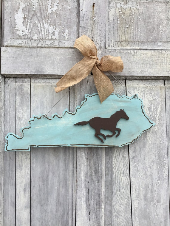 Kentucky, horseracing, horse, equestrian, derby, hand painted, farmhouse style, wood,  State, door hanger or wall art