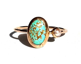 gold turquoise ring 14k solid rose gold ring turquoise pearl ring turquoise engagement