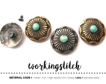 2PCS 27mm Zinc Vintage Rays Ornament Pattern with turqouise enamel Leathercrafts screw back Craft Rivet Findings