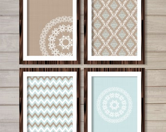 Damask & Mandalas Pattern Printable Wall Art Taupe Robin Blue Set of 4 -8x10- Vintage Geometric Instant Download Living Room Home Decor