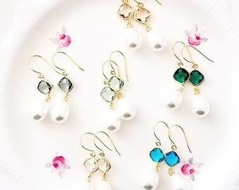 Pearl bridesmaid earrings Pearl bridal earrings Pearl drop earrings Bridal pearl teardrop earrings Pearl earrings Pearl dangle earrings Gift